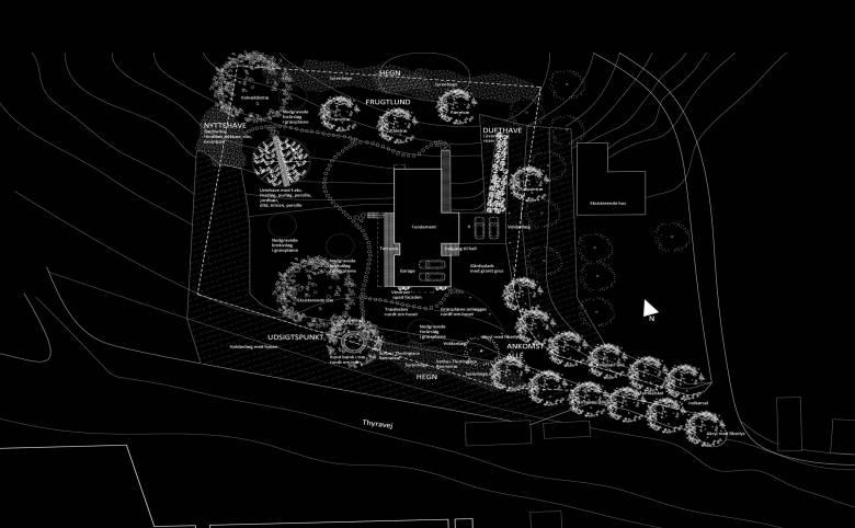 Haveplan til Madebjerghuset Klintholm - Arkitekturværkstedet - Hans Peter Hagens - Arkitekt - København